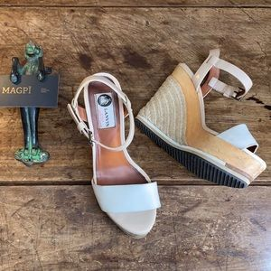 LANVIN Oak & Cream Platform Espadrille Wedge